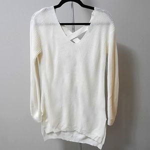 BOGO Free V-neck long sweater w/ criss cross back detail